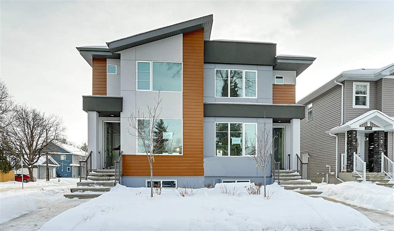 Location! Location! BRAND New infill just steps from the UofA & UofA Campus! This 1426SF duplex is a perfect fit for a student or young professional! Gorgeous open concept layout throughout boasting tons of natural light & a great space to entertain! This home has a total of 3 bedrooms-including the master bedroom with a 4 pce ensuite. Another 4 pce bathroom and laundry complete the upper level. This home features a large beautiful south facing yard and a double detached garage. There is also a second entrance as well leading to the unfinished basement. Construction to be completed in about a month. This home will feature white laquer cabinets, quartz counters/island, hardwood, glass railing, electric FP w/tile surround & S/S appliances.