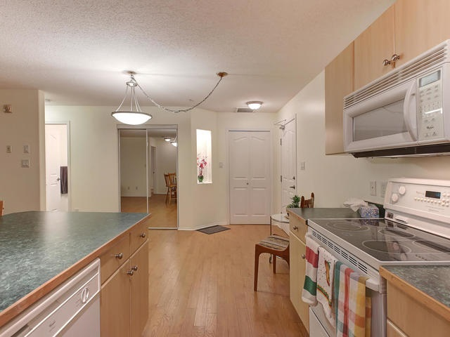 The extended portion of the counter top gives you a nice breakfast bar where you can enjoy a small meal or snack.