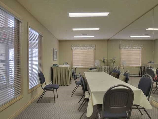 There are three social rooms you can rent if you need a large space for a party etc., Two in the A building and one in the B building.. Monthly pot lucks and weekly coffee are held in the A building rooms.