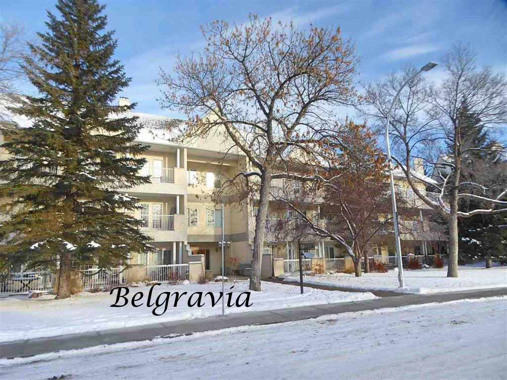 TOP FLOOR CORNER UNIT FACING THE PARK!! Welcome to the Belgravia II and this immaculate 2130 sq ft 2 bedroom plus den condo in the wonderful family friendly community of Belgravia walking distance to the U of A, the hospitals, the LRT, the river valley and a very short commute to downtown. Spacious throughout, this property has a huge front foyer, entertaining sized living and dining rooms, the kitchen with an abundance of cabinetry and counter space, the bright breakfast nook with built-in cabinetry, the master bedroom with a 5-piece ensuite, W-I closet and access to the patio, the 2nd bedroom also with built-in cabinetry and W-I closet, a 3-piece bathroom, den and large storage room that houses the stacking washer/dryer. The south facing patio with a retractable awning spans the entire length of the condo and has a lovely view of the island park. Two heated underground parking stalls and enclosed storage closet are included. The condo fee in this 18+ building includes heat and water. A must to view!!