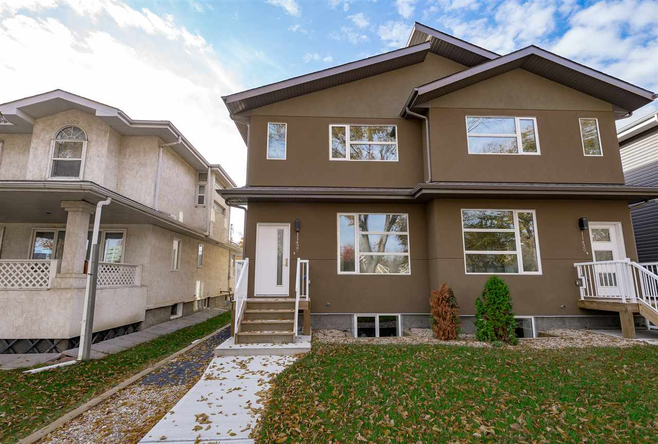 IDEAL location for this brand new fully finished duplex with LEGAL Basement suite just steps from the University campus.  4 total bedrooms, 3.5 bathrooms and 2000+ sq ft of living space, low maintenance yard and double detached garage.  The main floor features a large flex room in the front, which can be used as an office or formal sitting area, as well as an inviting living/dining/kitchen centered around the gas fireplace.  Kitchen has full height cabinets with designer finish, quartz counters, tile backsplash and all stainless steel appliances.  Modern colors, flat casings, engineered hardwood and porcelain tile complete the high end finishes on the main floor.  3 large bedrooms upstairs including a bright master bedroom with walk in closet and five piece en suite.  The LEGAL basement suite has a living/dining area, galley kitchen & 1 large bedroom, all done with the same quality as the rest of the house.  Additional upgrades include triple glazed windows, upgraded insulation, A/C, and fully landscaped.