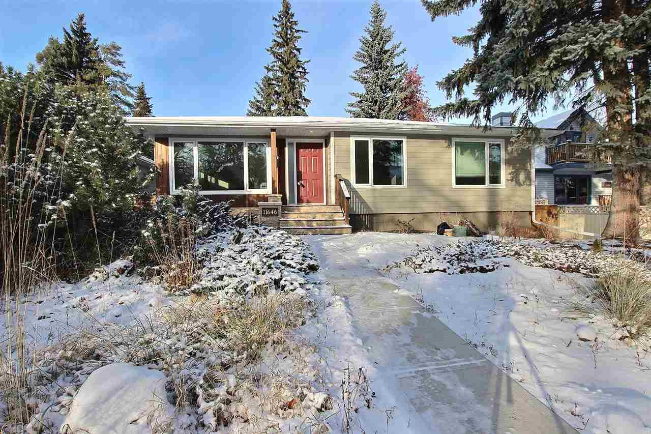This substantially renovated bungalow is centrally located in Belgravia. Just steps away from community park/playground, river valley, off leash dog park. Only 5 blocks to Cross Cancer Institute, U of A, LRT and a short distance to Downtown making this one of Edmonton?s most desirable neighborhoods to live in. A beautifully landscaped garden greets you at the arrive out front, Inside offers a comfortable sized living area with south front exposure which allows plenty of light to come in with the enlarged windows. Beautiful maple hardwood floors run throughout much of the main level. Fully renovated kitchen will entice those who love to cook to make this home. Three very spacious main floor bedrooms and a fully updated 4pc bath complete theis level. The basement will also impress you with its renovations including a den, 4th bed, 4pc bath/laundry room and finally a spacious rec. room. Outside the backyard is fully fenced with soaring trees, a covered patio and double detached garage.
