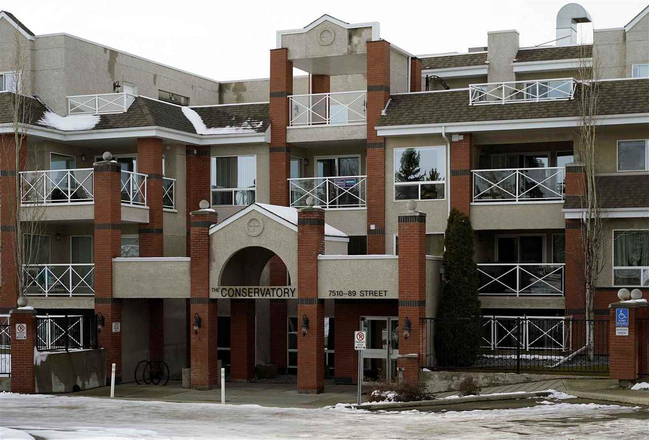 """""""Incredible Location & Immaculate Bldg""""The Conservatory is tucked away in a quiet s/f neighbourhood backing onto the Millcreek Ravine Trail System.Care & pride in this complex is very evident throughout entire common areas.Amenities incl. gym, guest suite, social room, sundeck & library.There is no wasted space in this 1,054 sq.ft. 1 bdrm + den. In fact it has a feel of being larger.The flr plan is exceptional with great flow.Just inside the entry is your kitchen with adjacent laundry/storage  & 2nd full bath.The den off dining room could dble comfortably as 2nd bdrm.Master bdrm, walkin closet & ensuite are all of a size not typically seen at the price point.Finishes incl. eng. hdwd floors, ceramic floors, ceramic tile, granite counters, stainless appliances, pantry, maple cabinetry, raised bar counter, a/c & lg banks of windows.Main flr units have oversized patios @ 22x12.A portion is covered & ideal for dog owners.This unit comes with tandem parking stall & heated storage locker.Lots of visitor parking."""
