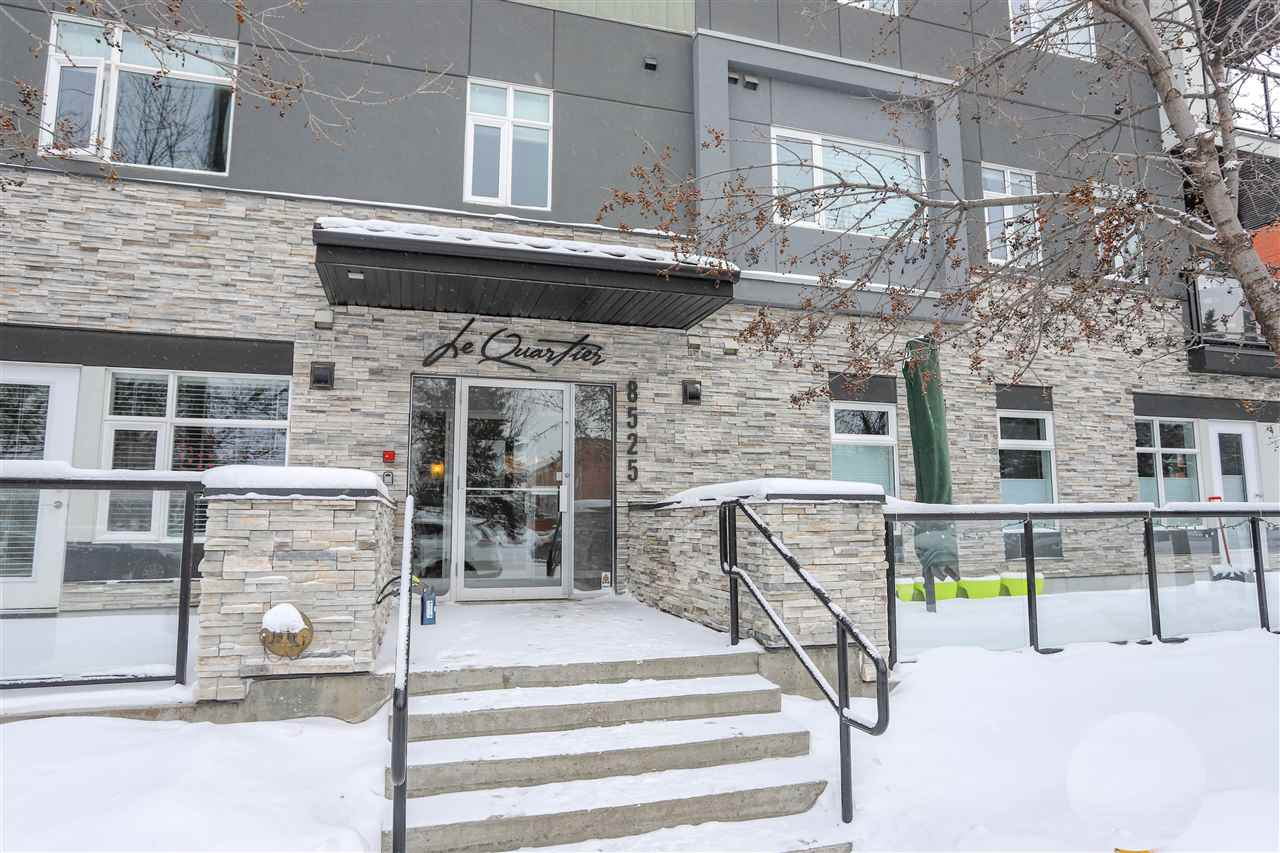 Fantastic 2 bedroom plus den condo unit in the heart of Bonnie Doon!  This is a thriving community with a mix of culture, convenience, fabulous cafes within walking distance, minutes to Downtown, easy access to the upcoming Valley Line LRT plus steps to the Mill Creek Ravine with stunning trails to be enjoyed year round. This corner unit boasts beautiful large window making this open concept space bright and inviting. The modern kitchen with ample cabinets and quartz counter space overlooks the dining and living room. Settle in your master bedrooms with a lovely 4 piece ensuite and walk thru closet. The second bedroom and den are adjacent to the 4 piece bath. Convenient in-suite laundry and plenty of storage space including exterior storage on the balcony. You are sure to appreciate the secured, heated underground parking! This well managed building also features a social room. Welcome home at Le Quartier Condos!