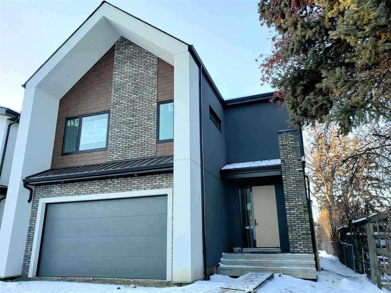 Welcome to Aspen Gardens one of Edmonton?s most sought after family neighborhood. This executive home is just under 3700 Sqft of developed living space.  This MODERN URBAN FARMHOUSE STYLE 4 bedroom home comes fully developed on 4 levels.  This home features luxurious high end finishings on each level.  There is a developed basement, a 3rd floor Patio, and private West facing rear yard backing onto Whitemud Ravine. Could you have anything else on the list? This is a very unique opportunity to own a Brand New Infill in Aspen Gardens, close to some of the best schools in the city including Westbrook. Plans have been prepared by one of Edmonton's top Residential Infill Builders. Highly sought after neighbourhood, great private Ravine location sandwiched between 2 parks and access to biking trails to the university, and downtown.
