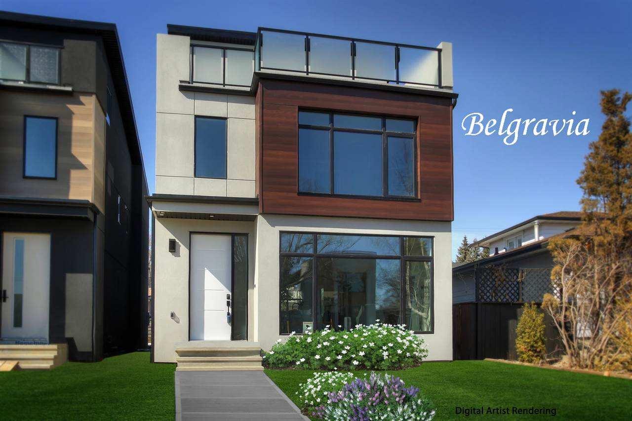 Welcome to Belgravia and this brand new Green Hills 2233 sq ft 2 1/2 storey, 4 bedroom family home with spaces for all kinds of activities. Quality finishings and attention to detail are apparent and the slightly wider profile allows for more generous kitchen and bedrooms and a wider stair well. Features of this exceptional home are triple glazed windows, sleek electric fire place with marble tile surround, durable vinyl plank in a lovely herringbone pattern, plush carpeting, double detached garage, fully finished basement with a wet bar R-I, open riser stairs, a luxurious master bedroom 5-piece ensuite, upper level laundry, huge south facing windows on all levels and natural light reflecting everywhere off the soft neutral color pallet. The multipurpose 3rd level, with a full bath, has garden door access to the huge south patio that gets sun almost all day long. What a bonus!! Located steps to the trails of the river valley, the LRT and a short walk to South Campus and hospitals it's a must to consider!!