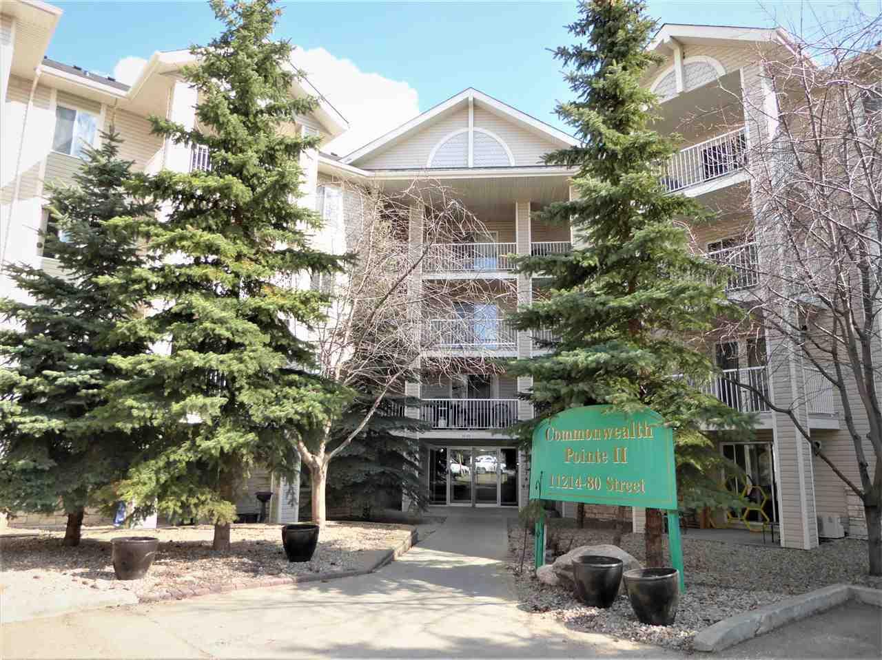A rare find, you are going to love!  All utilities included in this monthly condo fee! Well built and well maintained southwest corner unit with wrap around covered deck for you to enjoy. A warm & inviting home, freshly painted with lots of big windows. There are 2 bedrooms and 2 baths. Sunny & bright kitchen with eating nook that overlooks the living and dining room. The romantic size master bedroom  has his and her closets with 4 piece ensuite. The 2nd bedroom is also good size. In suite laundry, and walk in pantry  & storage room. This suite comes complete with 6 appliances,  assigned parking stall and visitor parking. Steps away from shopping and public transit, LRT, close to downtown, public parks, Nait, and Grant McEwan.  Perfect place to call home!