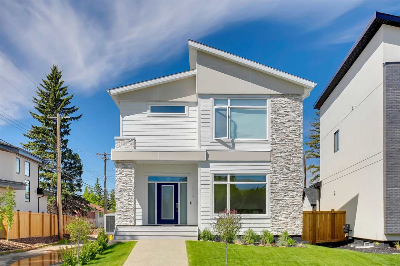 Welcome to the historic community of Belgravia with tree lines boulevards & top-rated schools ? a family community located in the centre of it all!  Enjoy easy access to the River Valley, the UofA hospital & the popular Whyte Avenue shopping area.  Built in 2017, this new luxury 2 story home is located on a quiet street & is stunning inside & out ? totaling 3746 sqft of finished living space ? 3 bedrooms up plus 1 bedroom in the basement, 3.5 baths ? fully landscaped ? double detached garage ? the fit, finish & style throughout is fabulous! Step into the home & feel how well each room blends into each other seamlessly. The foyer leads to the music room on one side & the living room, dining room & kitchen on the other. The kitchen is spectacular with a dream island, custom cabinetry & natural light flowing throughout. Upstairs the natural feel continues with the 3 bedrooms & a master suite like no other - luxury ensuite & 2 dressing rooms. Downstairs ? family room with wet bar, fitness area, bed & bath!