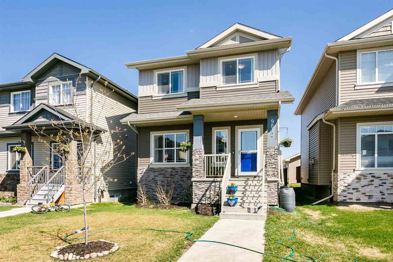 Very well maintained 2 storey located in the well sought after town of Morinville.  Features a great floor plan with a large living room, cozy warm gas fireplace, a 2 piece powder room, main floor laundry, a huge kitchen with upgraded stainless steel appliances, Island Kitchen with Granite Counter Tops, and loads of cupboard space.  Finishing off the main is a dining room/breakfast nook with a patio door leading to a deck, fenced in back yard with a Double Detached Garage. Upstairs features 3 spacious bedrooms with the Master Bedroom having a 4 piece en-suite and a large walk in closet. As well on the upper level is a 4 piece family bath. Basement is partially finished with a utility room, storage room, and a studded family room.  What a great place to call home and is a real pleasure to show
