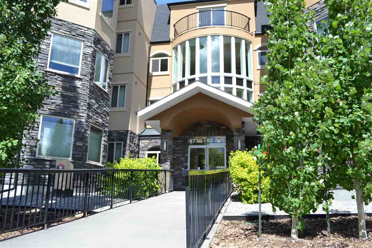 Top floor, corner end unit situated on Edmonton's coveted & vibrant Whyte Avenue. Features a contemporary, open-concept floorplan with laminate & carpet flooring, island kitchen with stainless steel appliance package, eating area, in-suite laundry, balcony & heated underground parking. There are also 2 bedrooms with 2 full bathrooms (master bedroom has walk-through closet & ensuite). The second bathroom could be a guest bathroom or could accommodate a room mate, depending on your lifestyle. East-facing balcony has room for patio furniture, natural gas outlet & offers ideal lighting for potted plants. Living room has large window space where you can enjoy a view of downtown's skyline & watch the fireworks. Madison on Whyte has easy access to Bonnie Doon shopping centre, U of A, Hospital, downtown, river valley & the future LRT station.