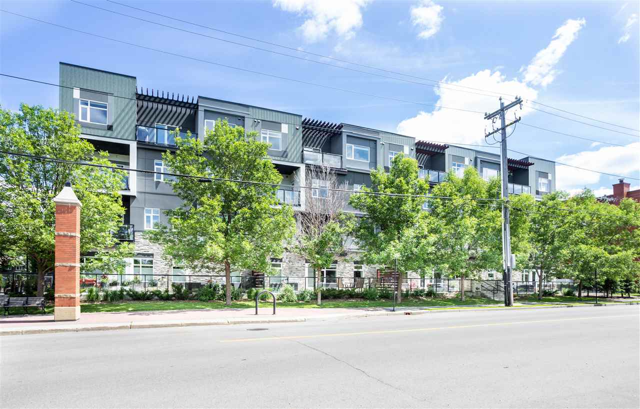 One of a kind opportunity to own a newer condo in the beautiful mature Bonnie Doon neighbourhood! Bright & airy best describes this 2 bedroom plus den unit facing the Campus St. Jean in the French Quartier. You?re sure to spend time enjoying your modern kitchen with quartz counter tops, SS appliances, island & spacious dining room. Picture yourself on your west facing balcony at the end of a long day enjoying quiet time with a book & glass of wine. The master bedroom is impressive with room for a king size bed, walk-through closet & ensuite. On the opposite side of the unit is the 2nd bedroom & 4-pce bath. Convenient in-suite laundry tucked away in the den. Secure, heated underground parking, social room & visitor parking are just some of the perks you can enjoy living at Le Quartier. This is much more than just a condo unit; living in this thriving community offers convenience to Downtown, the U of A, public transit, festivals, an active community league, steps to the Mill Creek Ravine, cafes & more!