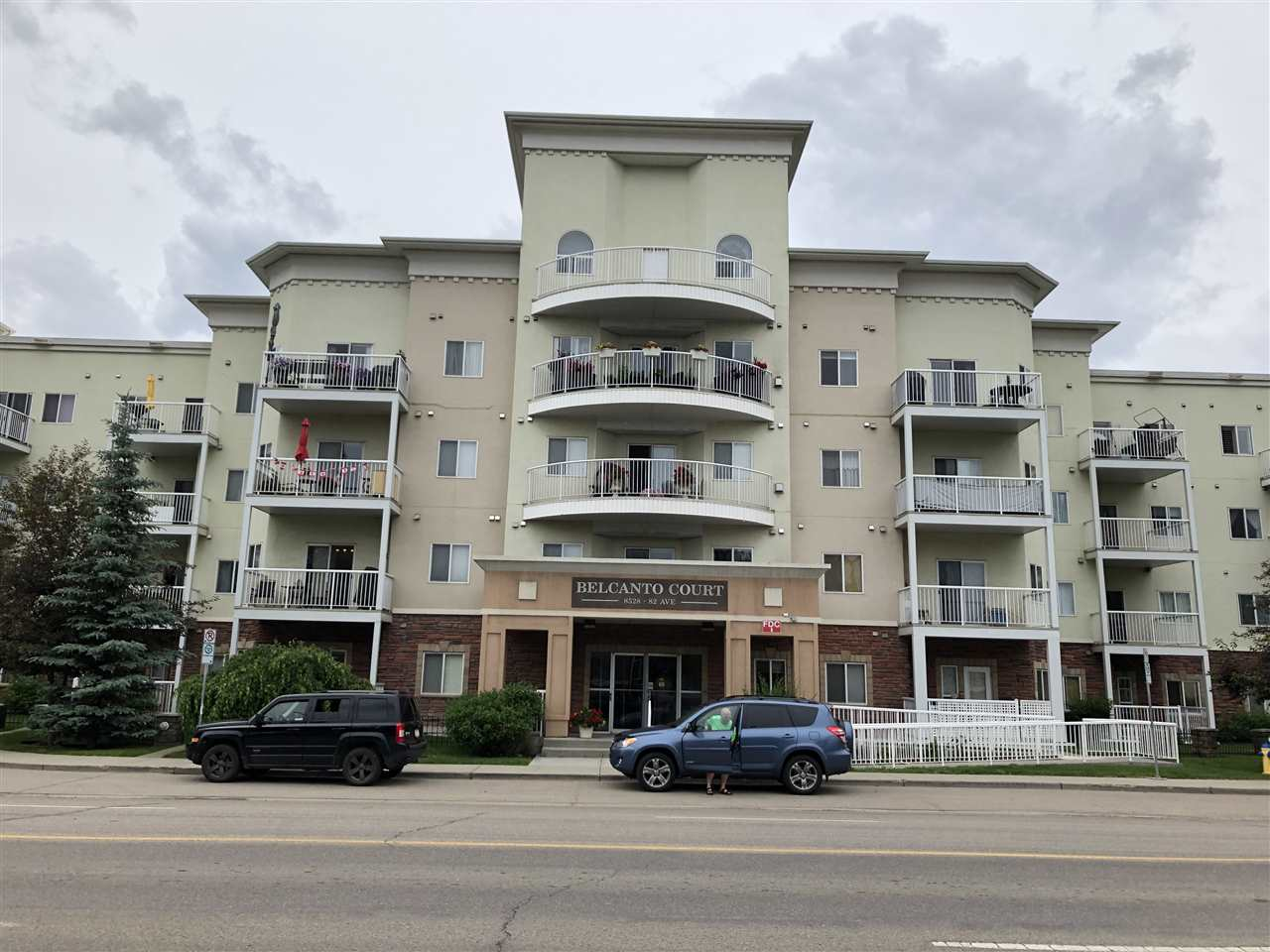 Super cozy 2 bedroom + 2 Bath California style condo perfect for sharing with Baths for each bedroom! Master Bdrm is spacious & features a walk through closet with 3 pce ensuite. Galley style kitchen features oak wood cabinets and white appliances. Cozy living room features gas corner fireplace and Garden Doors to balcony! Unit has insuite laundry with newer stacked washer and dryer. Suite includes an underground parking stall! Complex features Car Wash,& Guest Suite.This Adult 45+ bldg is beautifully maintained and steps from Bonnie Doon Mall and on direct bus line to U of A, Downtown and Whyte Ave! Priced Perfect!!