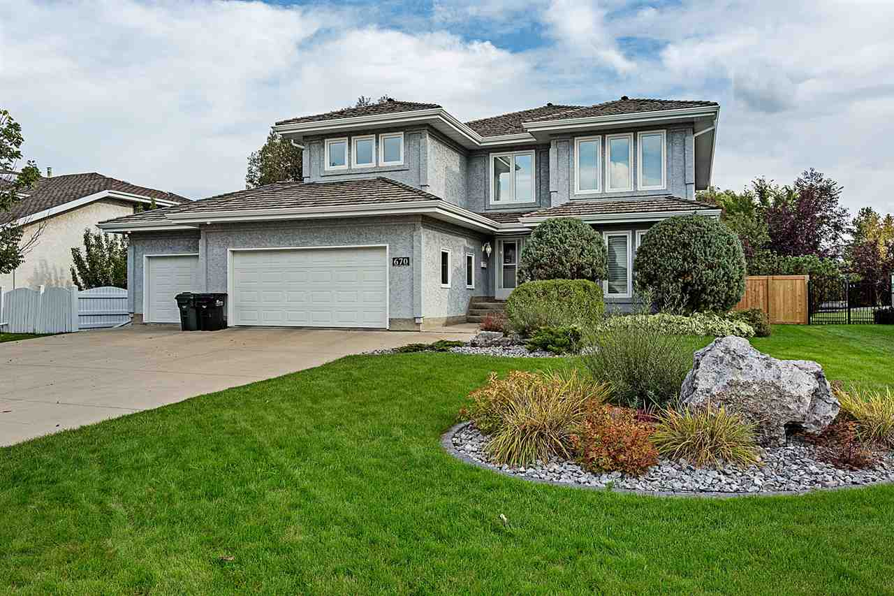 Wow!!! Awesome home in the Estates of Sherwood Park. This air conditioned 4 bedroom home is fully finished and backs on to a Park reserve. Sunny south facing yard that features a totally remodeled 40?x 20' in-ground heated salt pool. Extra large open concept dream kitchen that features high end stainless steel appliances which includes granite countertops, two wall ovens, large subzero fridge, gorgeous island, and a walk in pantry. Just off the kitchen is a three season sun-room which spills out onto a large South facing cedar deck. Upstairs you?ll find a good sized bonus/games room along with three bedrooms which includes the master bedroom boasting a large 4 piece upgraded en-suite bathroom with heated floors and a walk-in closet. The basement features a bar, beautiful theater room, a bedroom and a three piece bath. Lets not forget the heated triple attached garage and all the newer triple pane windows....   A MUST SEE PROPERTY!!!