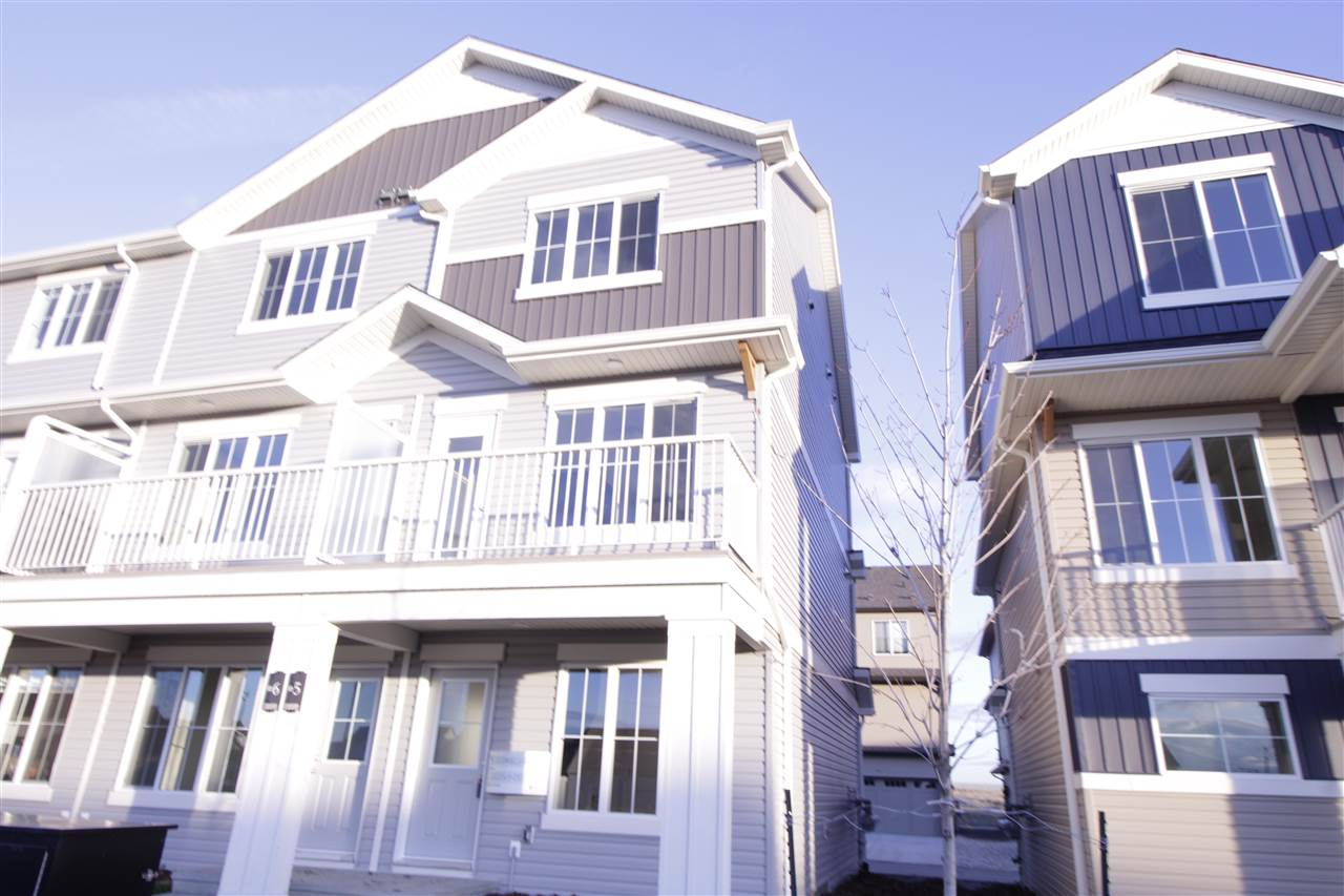 STOP PAYING RENT!!! Welcome to this brand new townhouse unit the ?Granville? Built by StreetSide Developments and is located in one of Edmonton's newest premier south west communities of Desrochers . With over 1100 square Feet and fully landscaped and a massive over sized double attached garage, this opportunity is perfect for a young family or young couple. Your main floor is complete with upgrade luxury Vinyl Plank flooring throughout the great room and the kitchen. Highlighted in your new kitchen are upgraded cabinets, upgraded counter tops and a tile back splash. Finishing off the main level is a 2 piece bathroom. The upper level has 3 bedrooms and 2 bathrooms.***Pictures are from Show home and is the same layout colors and finishing's may differ ***