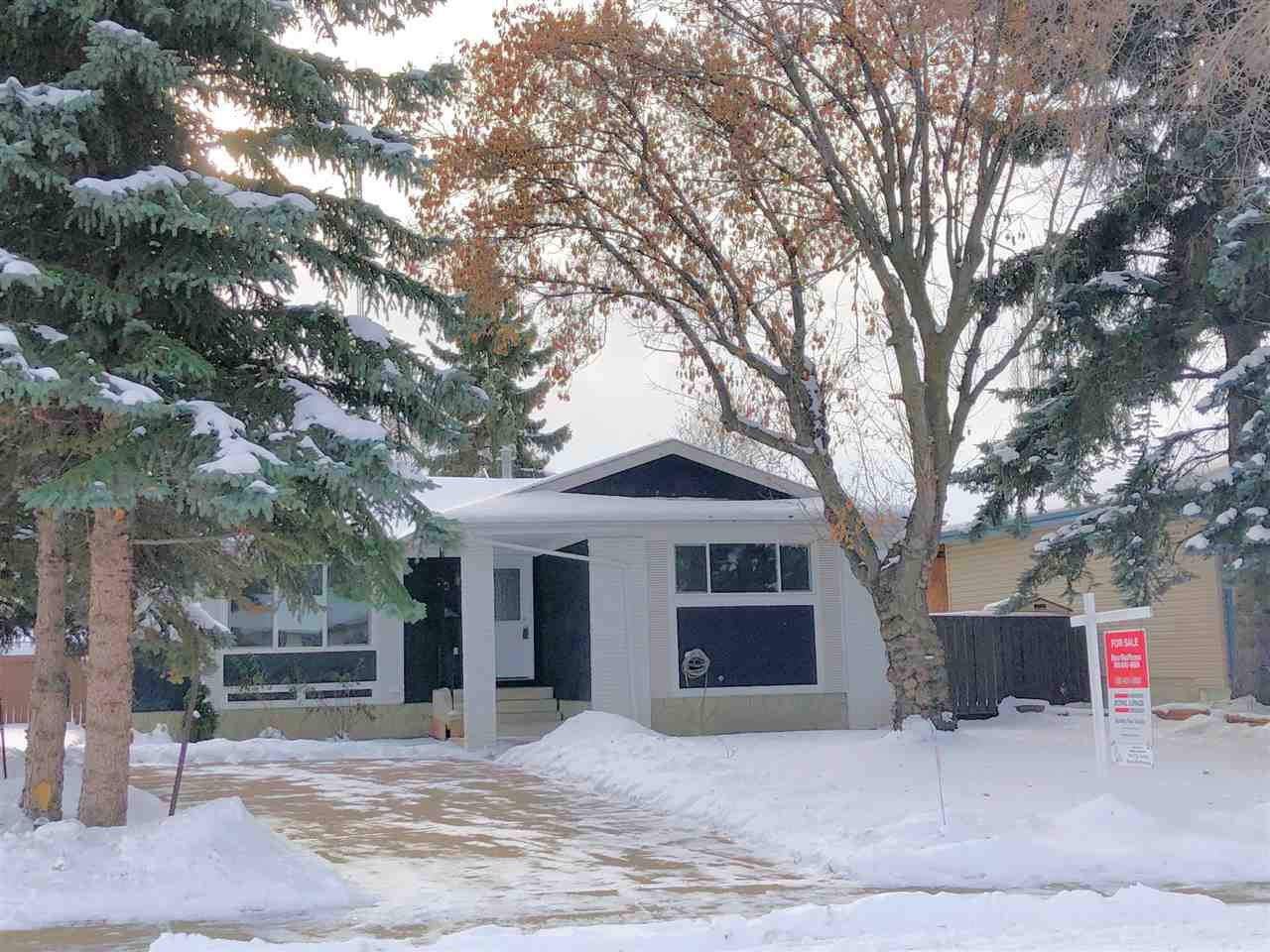 Quick possession is available for this Sherwood Park Gem. This 1190 square foot bungalow is located on a quiet crescent. Freshly painted. Three bedrooms up. One bedroom down. The large (almost 6500 square feet) spacious pie-shaped lot is great for the kids to play in. There is a moveable tool shed too. Some of the fine features of this home include: newer windows, a 5 year old hot water tank and a newer furnace (around 12 years old) All 5 appliances stay. The basement is finished with a rec room and a 4?th bedroom. Lots of storage too. This home is move in ready. Act now!