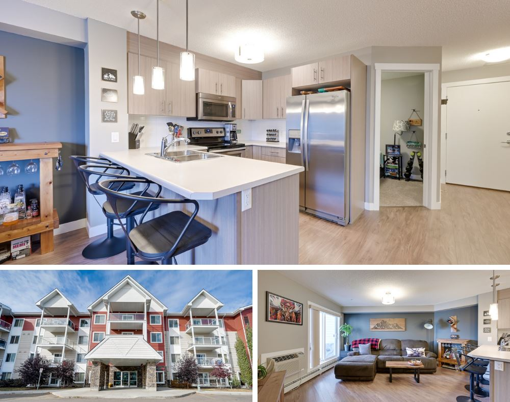 CONVENIENCE AT YOUR FINGERTIPS in this 2 Bed Condo in the PRIME LOCATION of Aspen Meadows. PRIDE OF OWNERSHIP featuring a MODERN OPEN CONCEPT unit w/ laminate floors, SS Appliances w/ a contemporary colour pallet. Owners suite has a walkthrough closet to the 4-piece bath. 2nd Bed can be used as a HOME OFFICE/DEN, IN-SUITE LAUNDRY includes storage. Sliding patio door will take you to your BALCONY completed w/ gas hook-up for BBQing. Other features include: A/C, UNDERGROUND HEATED PARKING & SECURE SAME FLOOR STORAGE ROOM right next to the unit! Better yet -CONDO FEES ARE ALL INCLUSIVE SO NO MONTHLY BILLS (heat, water & electricity). Building has great amenities including exercise room (work in progress), meeting/social room & visitor parking. LOCATION COULDN?T BE BETTER! This home is a SHORT 10 MIN WALK to Meadows TRANSIT Centre & SHOPPING: Superstore, Walmart, Fitness Center, Movie Theater (coming soon) restaurants & more! Hop on the Whitemud or Henday for easy commuting, near MEADOWS REC CENTER & LIBRARY.