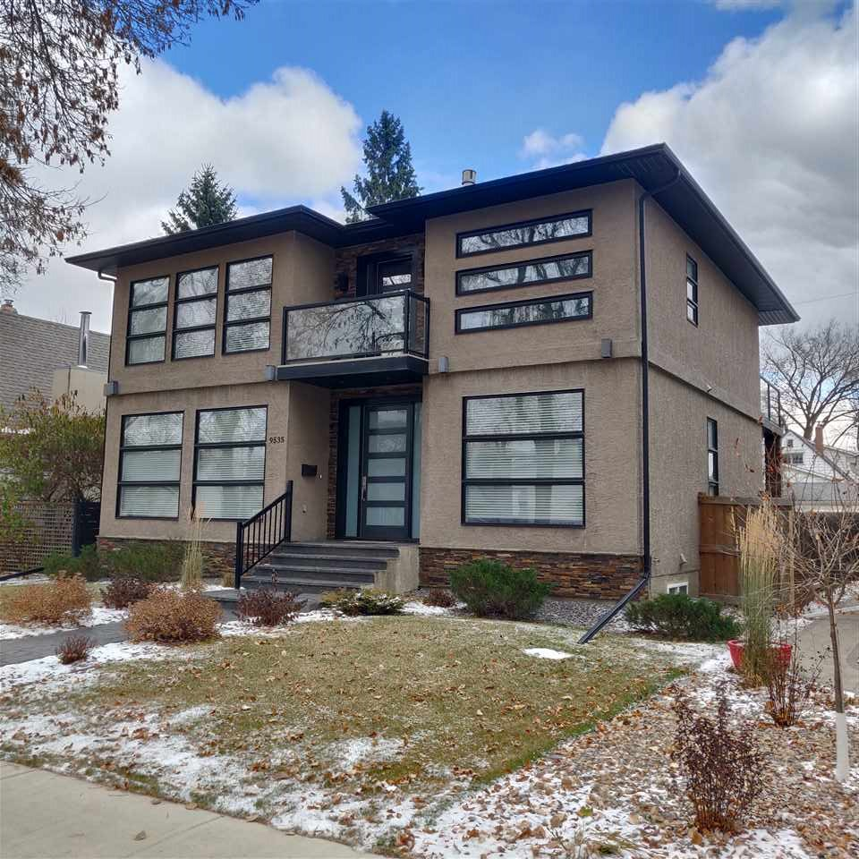 Fantastic Location! Walking distance to the new LRT (Strathearn Station). Enter this custom 2750+ sqft home & Brazilian Tigerwood hardwood stretches before you, tying together the OPEN-CONCEPT plan center on the floating hardwood staircase enclosed in 14mm glass. Front room is separated by a 2-sided FP from the dinning room. The contemporary kitchen with granite counters, high-end cabinetry & SS Bosh appliances. The den & 2pc bath complete this level. Upstairs is a 10'x16' balcony, 4 bedrms each with walk-in closet, and a massive Master w/balcony & 2-sided linear fireplace separating the spa ensuite, w/ jetted tub, vanities & rain shower w/body sprays. The elegant finish continue to LL with Rec.rm., Theatre, 5th bedrm & 4pc bath. Enjoy outdoor entertaining in your private yard with stamped concrete patio & 2-sided fireplace and a double detached garage. Short walk to the River Valley & Mill Creek Ravine trails. Fabulous location, great neighborhood & beautiful home. This is everything you dreamed of!