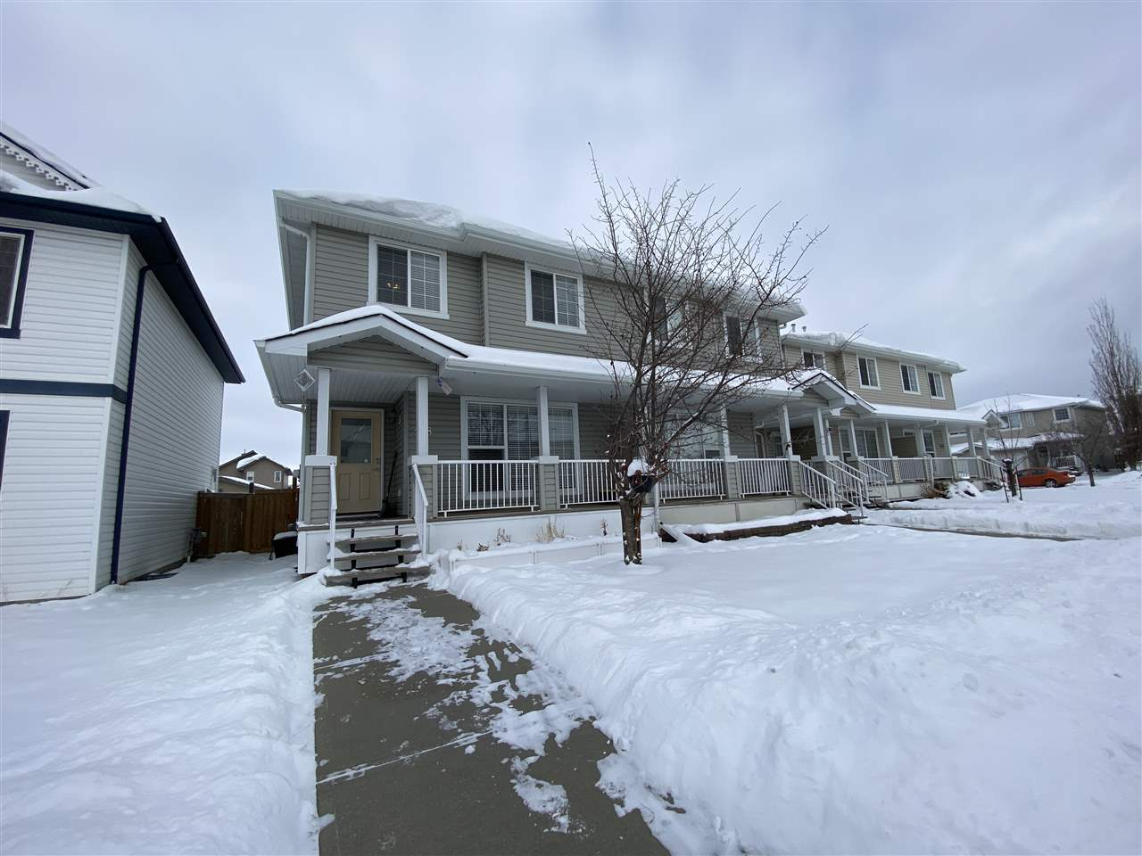 Here it is! Great value in this excellent semi-attached home, with 3 bedrooms upstairs and a great open floor plan on the main. The backyard is spacious, and the garage easily fits 2 full sized cars. Located on a quiet street, close to amenities, and easy access to the Henday and Whitemud. It's walking distance to many great parks and the Meadows Rec Centre. This is a terrific family home or investment property, well worth your time.