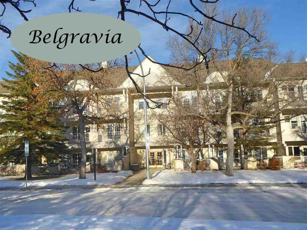 TOP FLOOR CORNER UNIT FACING SOUTH! Where else can you find a 2130 sq ft two bedroom plus den unit on one level with 9 'ceilings, huge entertaining sized living and dining rooms, air conditioning, 2 heated parking stalls, a 35 foot south facing balcony and located in the quiet community of BELGRAVIA just steps from the University and Hospitals! WELCOME TO BELGRAVIA II. Spacious throughout, this unit is filled with sunlight. Morning sun streams into the dinette next to the kitchen and afternoon and evening through the wall of south windows in the LR, DR and master bedroom. Additional features include an abundance of cabinetry/storage in the kitchen, a huge master ensuite and W-I closet, a large 2nd bedroom with a W-I closet and B-I shelving, a 3-Piece bath, a generous storage room with a stacking washer/dryer, a retractable awning, a large storage locker, car wash bay and bike storage. Enjoy living in the tranquility of this great community with easy access to the University area. A must to consider!!