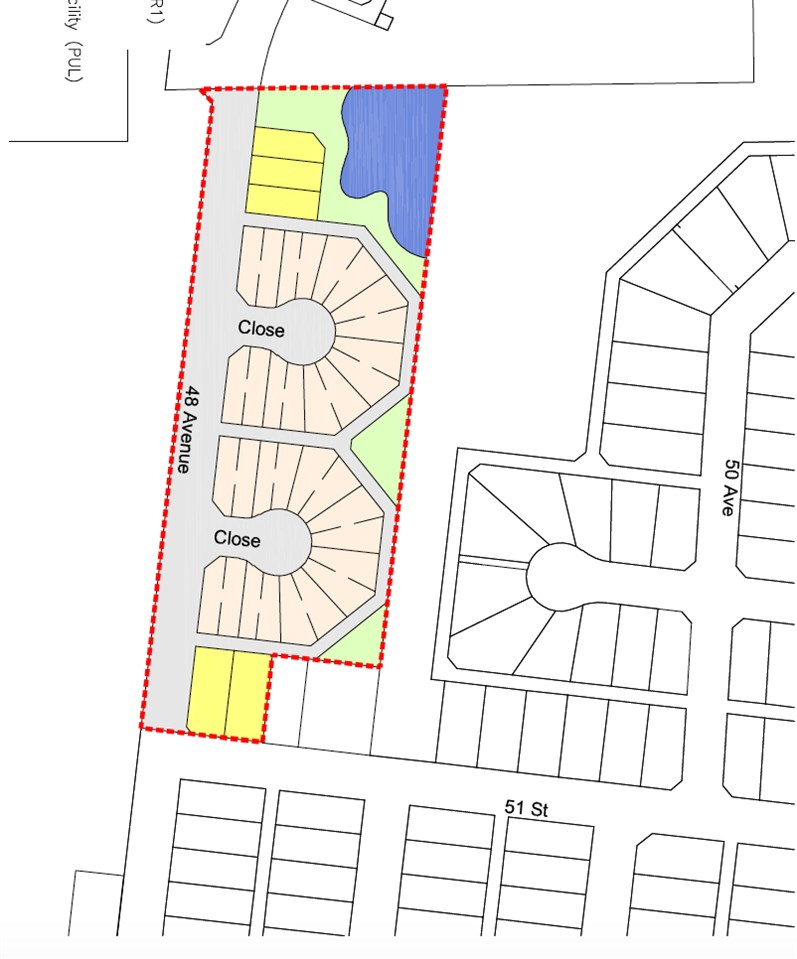 Serviced land ready for development. Located in the town of Bruderheim. 7.44 acres parcel, has a development plan prepared by Stantec engineering. This serviced land is a prime location in the heart of Bruderheim Alberta, perfect for residential development.It has an area structure plan already prepared by Stantec engineering.