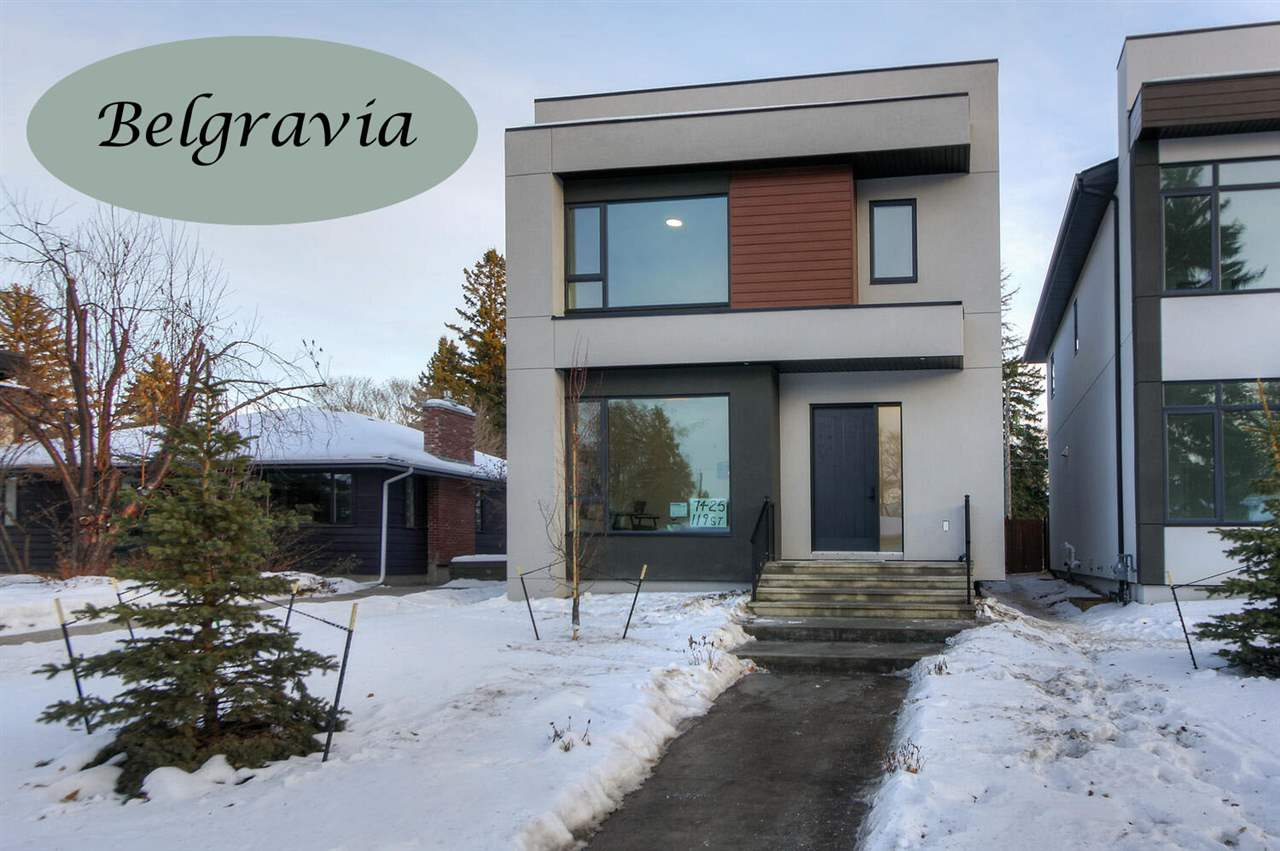 """Welcome to this 2315' contemporary 2 storey in a terrific Belgravia location close to the River Valley and the University! Main floor features include a superb open floor plan, 10' ceilings, beautiful engineered hardwood in a herringbone pattern, a spacious foyer, a den/BDRM with adjacent 3 piece bath, the living room with a gas fire place and huge window overlooking the yard, an entertaining sized  dining room and a spectacular quartz island kitchen with loads of cabinetry and deluxe SS appliances. The upper level includes 3 BDRMS,  all with their own ensuite baths and 2 with W-I closets. The basement with a separate side entry is fully developed with 2 BDRMS and is roughed in for a 2nd kitchen or wet bar. Additional features include triple glazed low E windows, R50 ceiling insulation, designer lighting, air conditioning, a rear """"duradeck"""" and a fully fenced and landscaped yard with a double detached 21.5x23 garage with matching acrylic stucco.  With immediate possession available it's a must to view!!"""