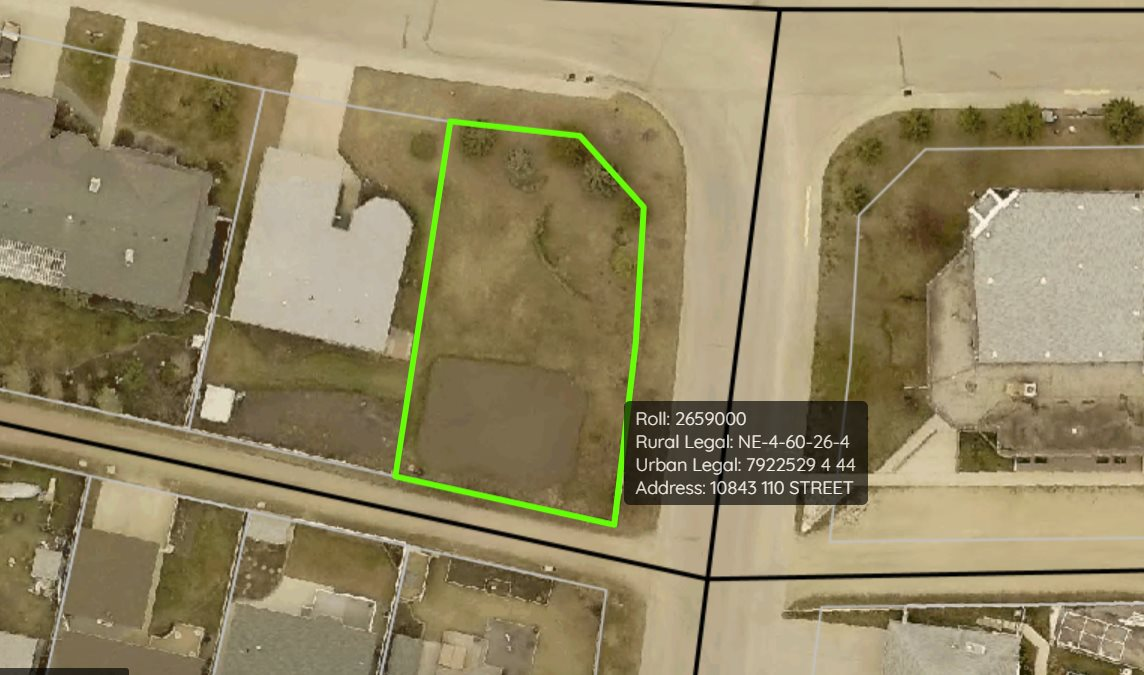Great quiet location to build your forever home or profitable investment. Close to schools and Aquatic Centre. 110' x 69' corner lot already has mature spruce trees and some shrubs. Extra-wide lot.