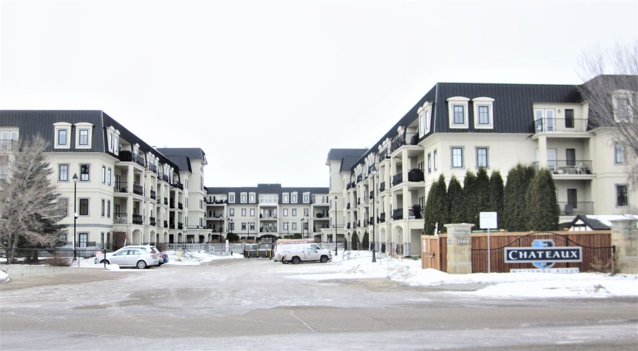 Top Floor One bedroom + Den condo unit in the Age 21+ beautiful building of 'Chateaux At Whitemud Ridge' in the Hodgson community. TWO TITLED UNDERGROUND PARKING STALLS. Built in 2004, 874 sq.ft., open concept layout with 9' ceiling. Large and bright living room with access to the South facing balcony. Spacious dining area. Lovely U-shaped kitchen with extended breakfast bar, light colour cabinets, tiled backsplash, and ceramic tile flooring. Large bedroom with walk-in closet and access to the 4 pcs. main bath with jetted tub and separate shower. Good size den is ideal for your office. Insuite laundry. Amenities include two car wash bays, recreation room, exercise room, sauna, and theatre room. Great location, within walking distance to Whitemud Creek Ravine, lots of walking trails nearby including the popular MacTaggart Sanctuary Trail. Close to shopping, public transit, schools, and quick and easy access to Anthony Henday and Terwillegar Drive.