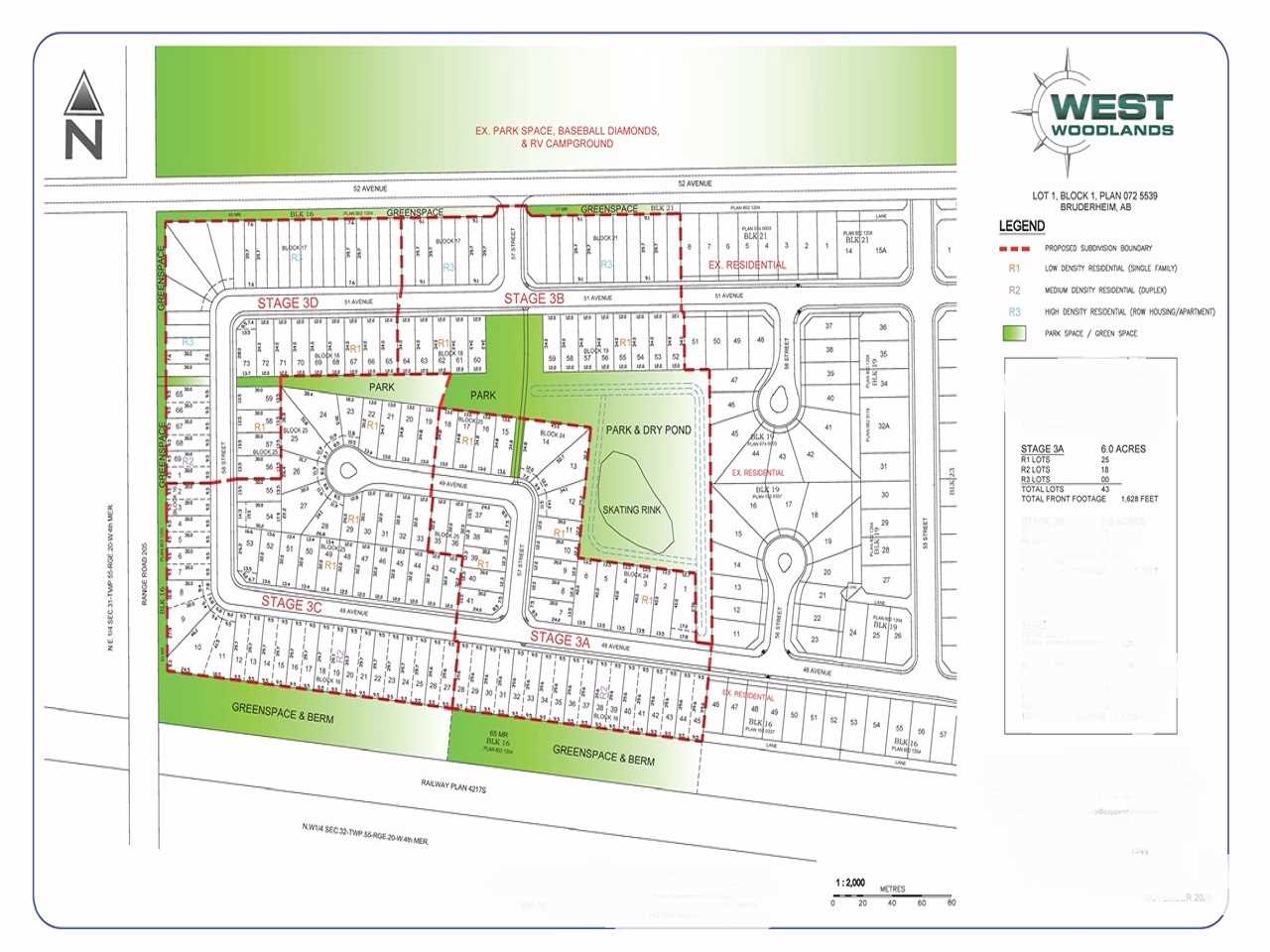 Future Lands , 25.9 AC ($63,700/acre).  West Woodlands in Bruderheim is 95% shovel-ready! We have opened up Stages 3A 3B 3C 3D. This 25.9 Acre project has a great mix of single-family, duplex & multi-family development proposed. The current site plan generates over 170 lots. Bruderheim is setup for opportunity & growth and is only 15 minutes from Fort Saskatchewan and 35 minutes from Edmonton! Tremendous small community for young families with a great K-9 school and several employment opportunities in the area. Outline Plan, Environmental, Geotechnical, Zoning, Pro-Forma, Planning & Engineering are complete and included in the sale. Zoning & Engineering can still be customized to suit the purchaser. This is a great opportunity for an investor, home builder or site works contractor.