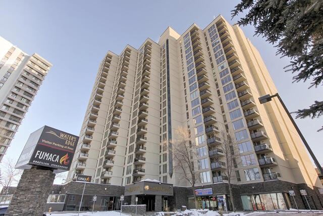 Waters Edge, a terrific high-rise apartment in Old Strathcona, a short walk to Whyte Avenue. This terrific, 2 bedroom, 2 full bath 13th floor unit is ready for you. Upgrades include kitchen, ceramic tile & laminate flooring. This comfortable home has 838 square foot unit has a large kitchen with a huge walk in pantry/storage room, a large dining and living room with an outstanding view of South Edmonton with floor to ceiling windows, Plus 1 covered parking stall in the parkade. Waters Edge offers an outstanding fitness facility with professional grade equipment, indoor racquet court and outdoor tennis courts. Easy access to downtown Edmonton, the U of A, great shopping & dining in Old Strathcona and the picturesque River Valley  The 2 bedrooms are separated by the living room making it ideal for sharing with roommates. A great place to call home!