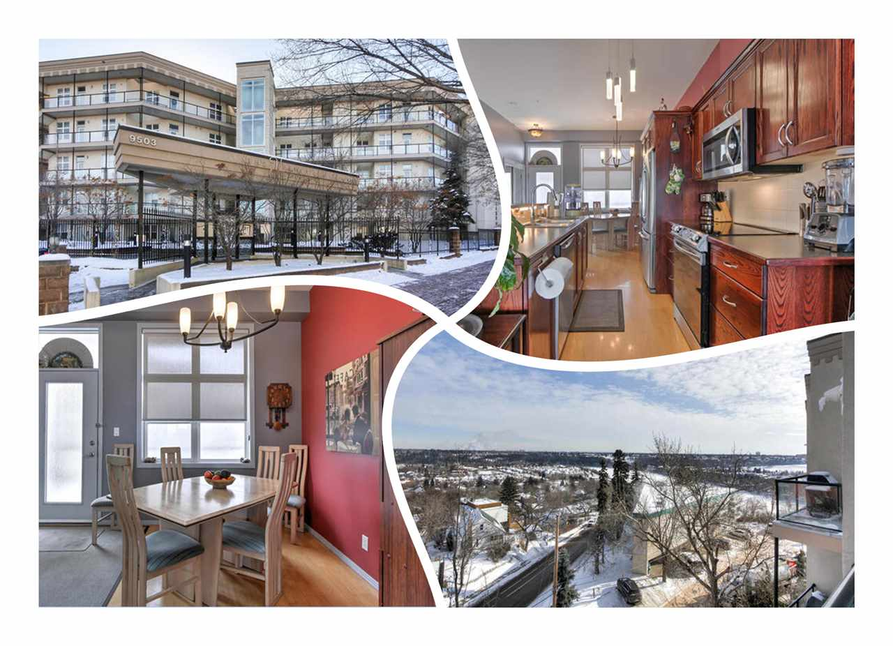 The VIEW has the BEST LOCATION in the CITY hands down! TOP FLOOR, 2 bedroom unit overlooking  charming RIVERDALE and the RIVER VALLEY! 10FT CEILINGS greet you adding volume and loads of NATURAL LIGHT into this warm space. Engineered HARDWOOD & TILE are just a few of the upgrades you will enjoy. Cook in the LARGE ISLAND KITCHEN with BREAKFAST BAR, perfect for entertaining. The 2 bedrooms are separated by a full 4 piece bath, a set up great for a HOME OFFICE or roommate. Bathroom is complete with extra cabinets for linens and more, TILE FLOOR and ACCESS to the Master suite. Day and night you will get VISUAL TREATS from the Master suite. AS HOOK-UPS on your very PRIVATE BALCONY, makes for great summer evenings or morning coffee. Park in the TITLED, HEATED, UNDERGROUND stall. Walking distance to Jasper Ave, River Valley walking trails, a short jaunt across the River from the University of Alberta, University Hospital and Whyte Avenue. See it, you will LOVE all this unit has to offer!