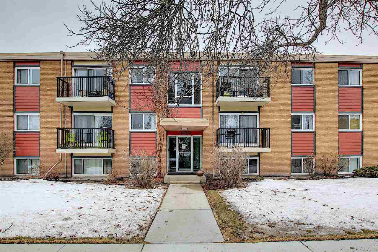 This large 3 bedroom condo in the great location is bright and warm.  This Westmount  property has been recently renovated inside. Maple  Kitchen with quartz counter top, updated flooring and bathroom..  There is a 2pc ensuite bath.You can't beat the location. Right on  major road way with bus stop just outside the door. West facing  balcony Off street parking stall. Short bus ride to NAIT, Westmount  mall, 124 St area,  and good access to downtown. There is a also a  private fenced in space for the complex.   This rare 3 bedroom is an  excellent opportunity for investors and first time buyers alike. coin laundry in lower level. This is very well kept building inside and out.