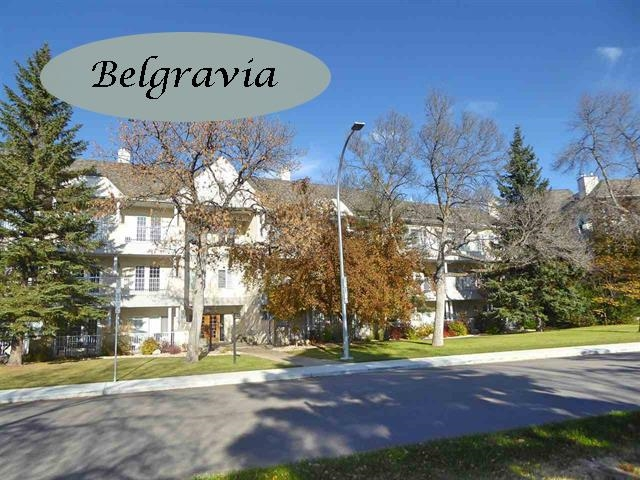 TOP FLOOR CORNER UNIT FACING SOUTH! Where else can you find a 2130 sq ft two bedroom plus den unit on one level with 9 'ceilings, huge entertaining sized living and dining rooms, air conditioning, 2 heated parking stalls, a 35 foot south facing balcony and located in the quiet community of BELGRAVIA just steps from the University and Hospitals! WELCOME TO BELGRAVIA II. Spacious throughout, this unit is filled with sunlight. Morning sun streams into the dinette next to the kitchen and afternoon and evening through the wall of south windows in the LR, DR and master bedroom. Additional features include an abundance of cabinetry/storage in the kitchen, a huge master ensuite and W-I closet, a large 2nd bedroom with a W-I closet and B-I shelving, a 3-Piece bath, a generous storage room with a stacked washer/dryer, a retractable awning, a large storage locker, car wash bay and bike storage. Enjoy living in the tranquility of this great community with easy access to the University area. A must to consider!!
