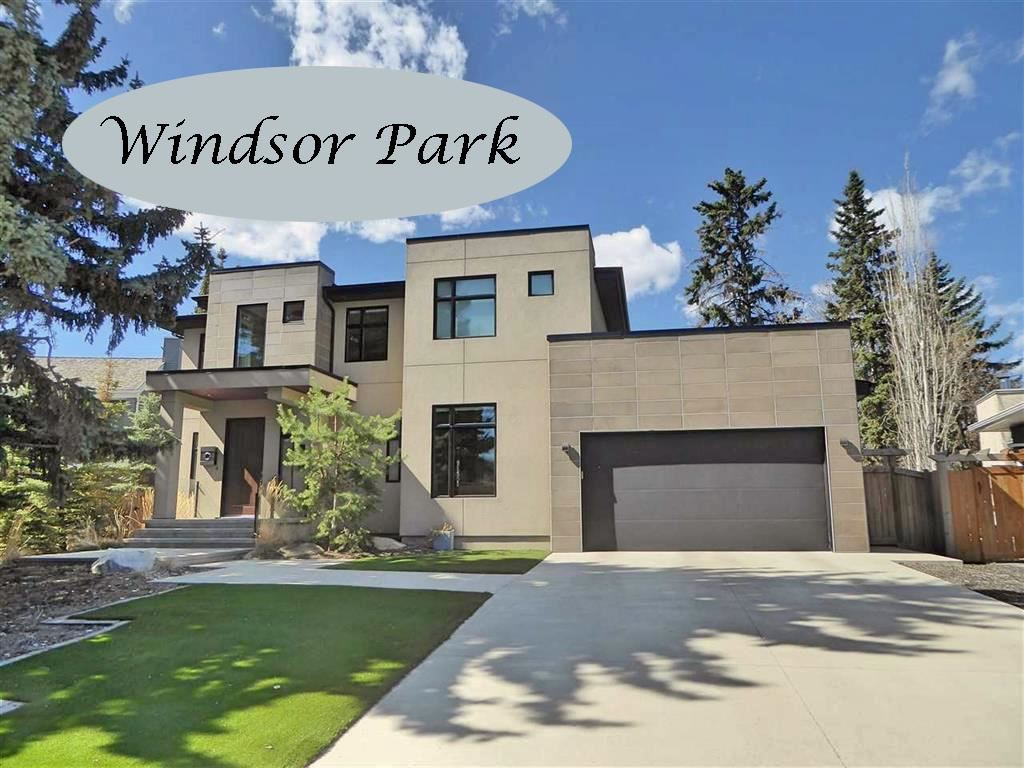 What a fantastic quiet WINDSOR PARK location! Facing an island park this stunning custom built Birkholz contemporary 2914 sqft 5 BDRM family home is complemented by a massive 10,940 sqft park-like SW pie lot w/lovely mature trees, garden boxes, a serene water feature, 2 level deck, hot tub & a beautiful sitting area with a brick fireplace. With a lovely open concept design, clean lines & bold architecture this home features a 2 story grand front foyer, dramatic open riser stairs, a dream chefs kitchen with 2 islands & high end appliances, & entertaining sized living & dining rooms. Main floor features  include a BDRM/den, huge pantry, laundry & the mud room that leads to the oversized triple tandem garage. Upstairs are 3 BDRMS, 2 baths & the large sunny loft. The lower level, all about activities, has a RR, games area, wet bar, a guest BDRM & bath & tons of storage. Walking distance to the hospitals, U of A, Jubilee, river valley & a 5 minute commute to downtown, this captivating home is a must to view!