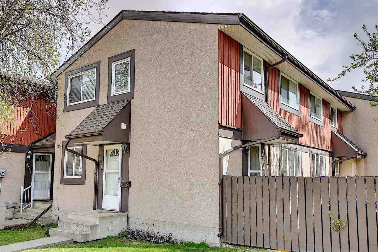 Welcome to this Fantastic 2 Storey/END UNIT Townhouse situated in the Desirable West end community of Aldergrove! Main floor features Living room with Patio door overlooks to Landscaped Fenced Yard adjacent to Dining room comes with Newer Laminate floorings throughout main floor. Maple color Kitchen has plenty of Cabinets & Bright Windows. Convenient Main floor 1/2 Bathroom. Upper floor offers 3 Sizable Bedrooms and upgraded 4pc Bathroom. Entire home boasts Fresh Neutral color Painting. Basement offers Large Family Room, Den Room, 3pc Bathroom, Laundry & Storage area. 1 assigned Outdoor Energized Parking Stall. The Complex has Newer Shingle, Windows & Lots of Visitor Parking areas. Great Location! Walking distance to West Edm Mall, Park, Community Centres, School, Public transportation. Easy access to Anthony Henday, Whitemud & all amenities. Quick possession available! Just move-in & enjoy!