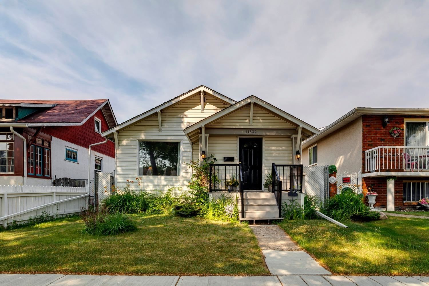 Great opportunity in central Edmonton. Upgraded character home w/2nd kitchen located on a quiet street, close to all amenities. The main floor offers 3 spacious bedrooms, remodeled kitchen, upgraded 4pc bath, and open living/dining areas. The newly developed lower level features a beautiful kitchen, huge bedroom, large living area, 4-pc bath, separate entrance, and vinyl flooring throughout. Outside you will enjoy the fully fenced/landscaped yard w/swing gates in the rear, perfect for RV/additional parking. Other recent upgrades include: electrical, plumbing lines, furnace, HWT, windows, both kitchens, bathrooms, appliances, backflow valve, spray foam drywall in basement, front decking, paint, fixtures, and more. Close to LRT, transit, schools, shopping, and other amenities. Perfect for a young family, investor, or first time buyer!