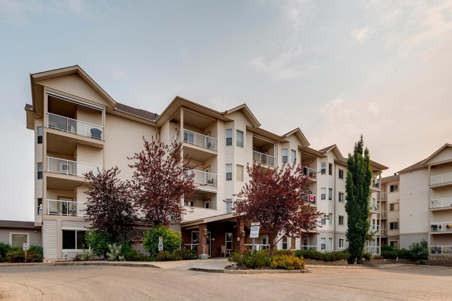 EXCELLENT OPPORTUNITY TO ENJOY A COMPLETELLY RENOVATED 2 BEDROOM 2 Parking stall CONDO WITH AN ACTIVE ADULT LIFESTYLE AT A GREAT PRICE! 55 or over, wheelchair accessible, Located in the popular and desirable complex of Central Park Estates in NE Edmonton and a fantastic location close to lots of shopping, transit, LRT, medical center, legion, and so much more. 3rd floor, TWO bedroom, TWO full baths, with open concept floorplan. There's also TWO PARKING STALLS (one UNDERGROUND WITH STORAGE CAGE and the second is an OUTDOOR STALL close to entry). The kitchen features oak cabinetry and a breakfast bar for casual dining, good sized living room with garden door to balcony, master bedroom has a walk-through closet and a full en suite. There's also a big storage room with stackable washer and dryer, and Upgraded lighting thru out. complex offer wonderful amenities, such as: a theatre, exercise area, social room, games room, car wash, plus a heated pedway to the Miller Crossing Care Center next door. well managed