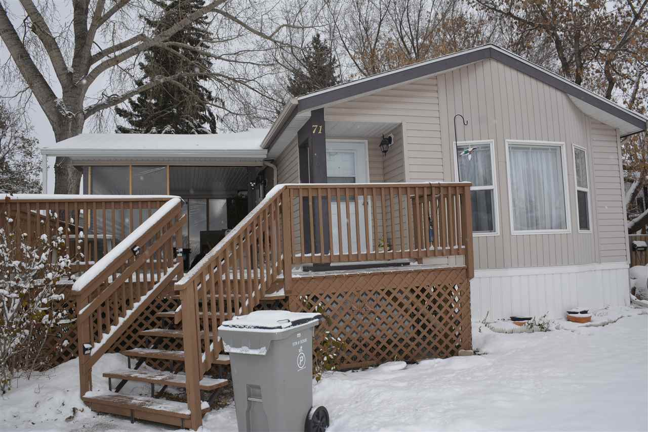 Well maintained one owner mobile. Enjoy 1200 sq. ft. of total comfort both inside and out. Vaulted ceilings, skylight, huge kitchen with garden door leading to one totally awesome deck. Imagine 32x14 deck covered with a 20x14 pergola canopy with maintenance free metal roof. All approved by the City of Leduc. Features 3 bedrooms with 2 four piece bathrooms. The ensuite even has a relaxing Jacuzzi tub to wile away the hours. Large 10x10 vinyl covered storage shed compliments this home.