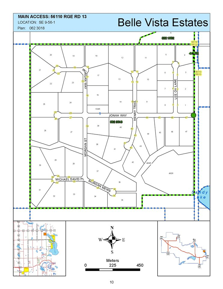 Taxes $400.94 Professionally planned subdivision west of Morinville. Natural gas and power are at property line. Culvert has been installed for driving onto property. No deadline for building so you can hold. Please contact Lac Ste Anne County for exact regulations 1-780-785-3411.  Great access as these roads are better maintained than city streets. 20 minutes or 12.5 miles from either Morinville on Secondary Highway 642 through Sandy Beach crossing the lake. North on RR13 about a mile. Belle Vista Estates on the West side of RR13.  Or 20 minutes North of Stony Plain. Subdivision Map at entry to subdivision. Other lots - some cleared, some with view available from about $40,000