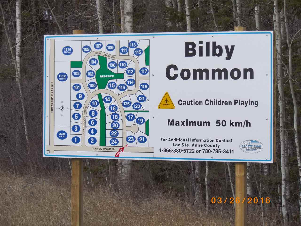 Easy 35 min from Edmonton city limits, 2 acre parcels, rolling land, power, gas & phone to property line, from STONY PLAIN 25 km and 15 min almost straight north  on 779, 20 min west of St Albert on 633. BILBY NATURAL AREA is 1 mi N, DEVILS LAKE is 10 min NE, ONOWAY 8 km, ONOWAY to ALBERTA BEACH 15 min. Min house size is 1200 sq ft, manufactured/modular ok,  GST applies. Take a look soon - BUY NOW, BUILD LATER. Make your move now. On the subdivision map this lot is 110. Legal is Lot 5 Bl 2 Plan 1123418
