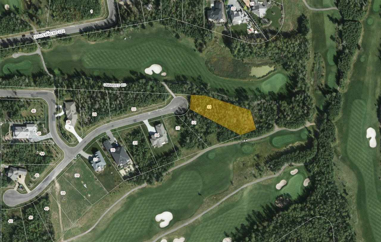 AMAZING OPPORTUNITY to own on the prestigious Northern Bear Golf Course in the exclusive gated community of West Bear Haven. This lot is situated at the end of a cul de sac and backs onto the golf course (between holes 11 & 12) with only one neighbour to the south. This is the largest vacant lot available, 2nd largest in entire subdivision and fully treed offering almost 3/4 of an acre to build your dream home! This is a first class development with architectural controls, city water, community sewer, paved roads and street lighting. Enjoy the peace & tranquility of acreage living with the conveniences of a friendly neighbourhood only minutes from Sherwood Park, Beaumont, South Edmonton & the International Airport.