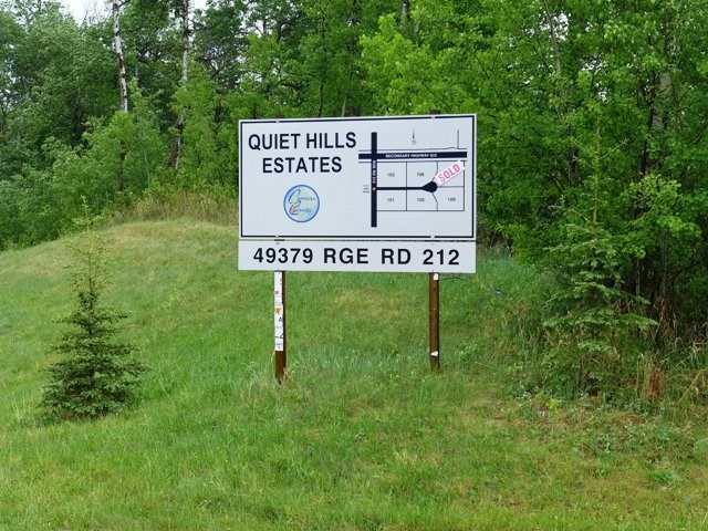 Picturesque treed lots in Quiet Hills Estates!  This six parcel subdivision is 5 km west of Miquelon Lake! Enjoy the solitude and benefits of country living, yet only 25 minutes to Leduc/Camrose and 35 minutes to Edmonton South Side.  The closest towns are Hay Lakes ? 11 km and New Sarepta 13 km. The Restrictive Covenant allows for the construction of a minimum 1200 SF home.  LOT PRICE DOES NOT INCLUDE GST.  Lot 105 is also available for $129,000 + GST