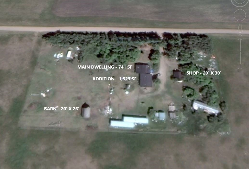 FIXER UPPER on 4.27 private acres 11 KM south of Hay Lakes (40 KM SE of Leduc, just 3.5 KM off pavement. The main house (built in 1976) needs renovation and the addition (started in 2006) needs completion. Main 2-bedroom dwelling is 741 sf and has a large covered front deck. Addition is 1,523 sf, with high ceiling, and open floor lay-out. 20' x 30' shop with concrete floor, 20' x 26' barn with concrete floor, plus numerous smaller out buildings. Addition requires a substantial amount of work to complete. It's a great opportunity for someone with building skills (or access to them) and wants to build equity. With all forms of taxation constantly on the rise, buying a first home is getting harder and opportunities like this are becoming scarcer.  This can be a beautiful home once completed. Property is sold as is. and includes 3 mobile homes in various states of repair.  ADDITION PHOTOS https://1drv.ms/f/s!AnIzwcVWDmBMjsBJi9GjaWcEaaV5mg LAND PHOTOS https://1drv.ms/f/s!AnIzwcVWDmBMjsBL5dad4lG9kOvLWg
