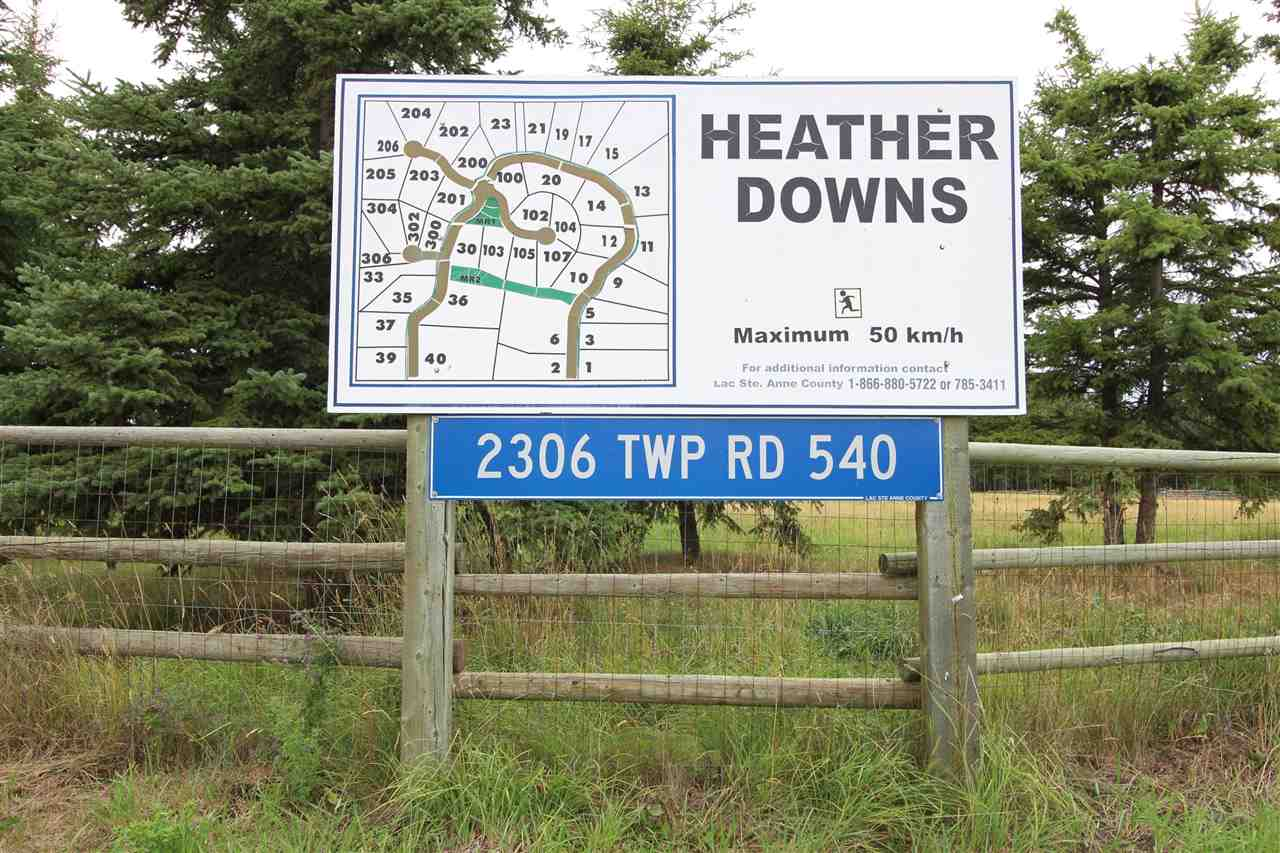 If you are looking for the peace and quiet come to Heather Downs in Lac Ste. Anne County and check out this tranquil lot with 3.88 acres! Fully treed, this property can offer you all the privacy you need whether it be building your next home or using it as a getaway spot. This land gives you the room you need in a great neighborhood!