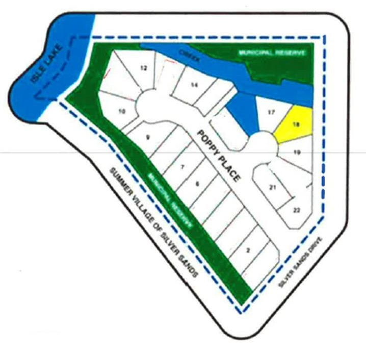 Great sized pie shaped lot located in newer subdivision of Poppy Place in the summer village of Silver Sands, AB. Power and gas at street, gravel driveway, treed, 0.20 acres, quiet cul-de-sac location on a large pie shaped lot. Building guidelines available. Underground power, gas, telephone to each Lot Line, Each Lot is approved for Septic Tank and Cistern or Well (Drilled Well is approved on a case by case basis).Each of the treed lots (some parcels are cleared) have lake access, via walking path to the lake and either back onto (ER) Environmental Reserve or Lake Front. Silver Sands Golf Course is minutes away. View at your leisure!!