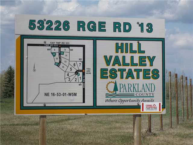2 ACRE LOT perfect or you to BUILD YOUR DREAM HOME in Hill Valley Estates. Close to Stoney Plain, and only 1 MILE NORTH OF HIGHWAY 16/YELLOWHEAD on RR #13 (Allan Beach Road). POSSIBLE WALK-OUT basement, CUL-DE-SAC location, situated between two environmental reserves. Gently rolling land and PAVED SUBDIVISION. Paved to property, with GAS AND POWER TO PROPERTY LINE.