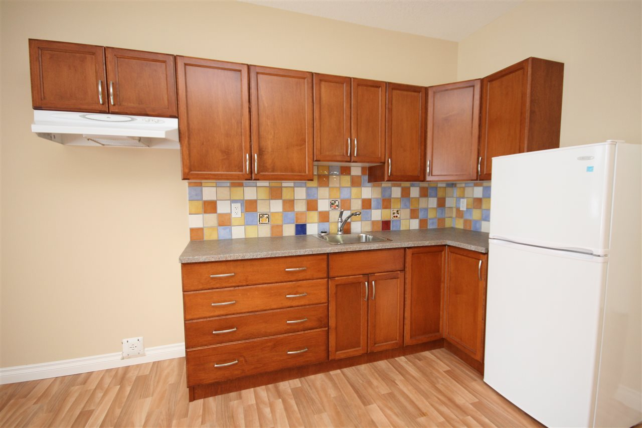 The kitchen has ample cabinets and counter space and accommodates a full sized fridge and stove.