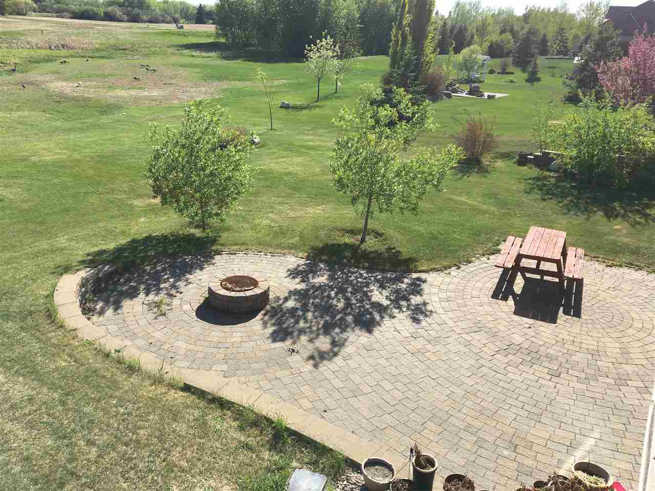 The door off the family room on the lower level opens to this expansive, $18k stone patio spanning the rear of the home.  Enjoy summer fires around the built in fire pit.  The sunny South exposure overlooks the natural wetlands.