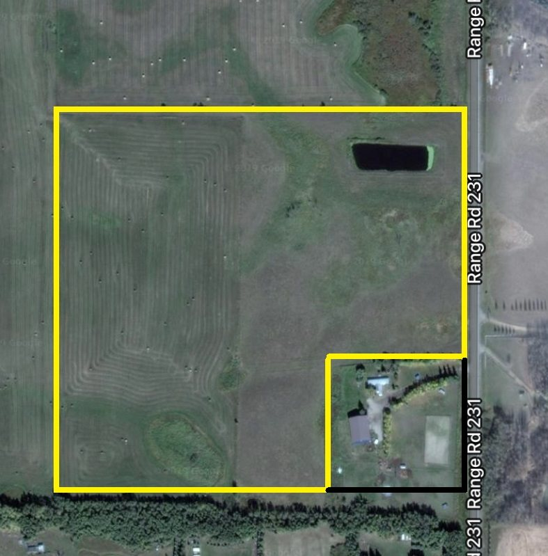 34.45 ACRES ... OUT OF SUBDIVISION... WITHIN 23 MINUTES TO SHERWOOD PARK, LEDUC AND SOUTH EDMONTON ... all on pavement!!!  Beautiful setting for your DREAM HOME with easy access to HWY 21.  A small dug out on the property is perfect for animals or would make a great water feature!  Partially fenced, power to property line.  YOUR SEARCH ENDS HERE!!!  GST may be applicable