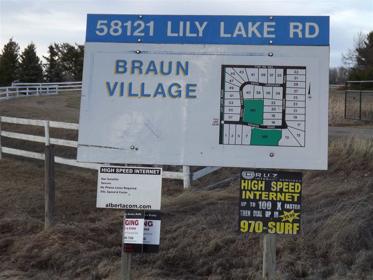 Great Location to build your home!! 3.26 acres in Braun Village Subdivision.  35 min. to Edmonton, 10-12 min. to Bon Accord on Lily Lake road, paved to subdivision.  Power and gas at property line.