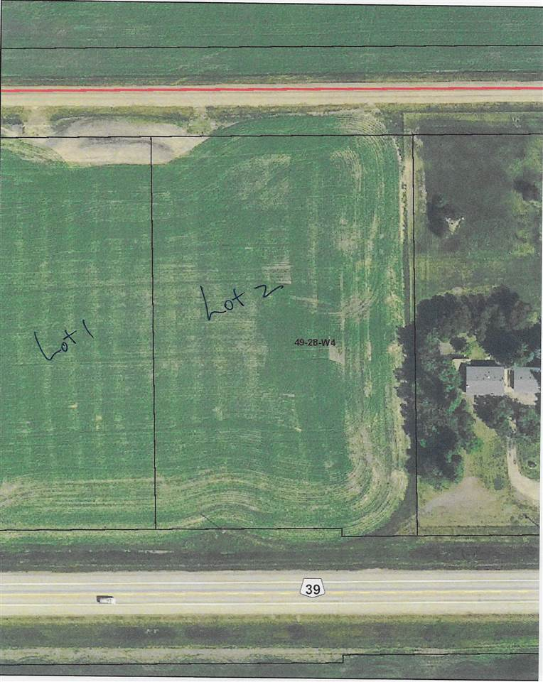 Lot 2.  2.97 acres of bareland located only 20 minutes from Leduc located on Highway 39 at RR 281.  Private back lane.  Good building spots.  Lots of space and convenient highway access. Power & gas is available.  There are three lots available for sale.